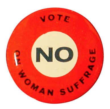Anti-suffragist pin. Tennessee State Museum Collection.