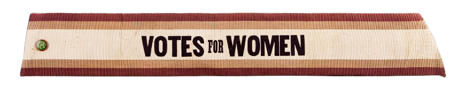 """Even though the color has faded, you see the use of yellow and purple in this """"Votes for Women"""" sash, Courtesy of the National Museum of American History"""