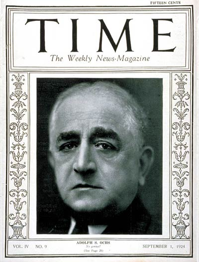 Adolph Ochs on the cover of Time September 1, 1924,
