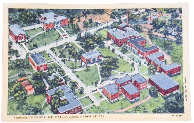 A Postcard showing an aerial view of Tennessee A&I State College, later TSU,Tennessee State Museum Collection.