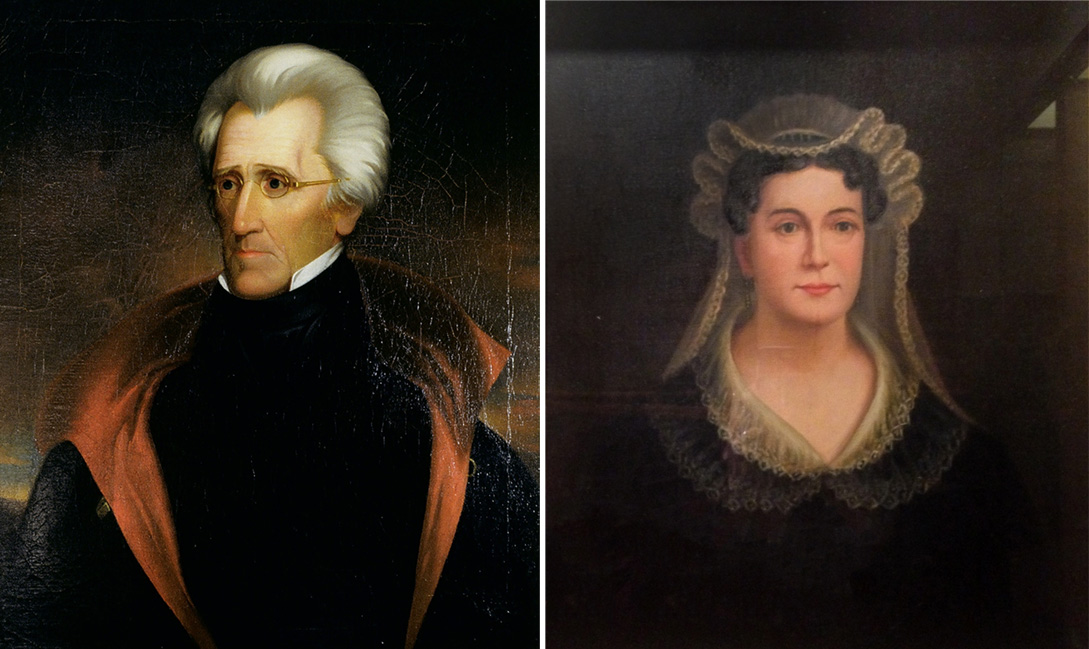 Oil portrait painting of Andrew Jackson by Ralph E. W. Earl. 1837 (1.877)   Oil portrait of Rachel Jackson, attributed to Washington Cooper. (estimated) 1845-1849  (76.75)