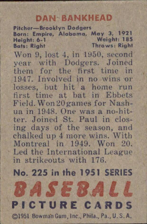Dan Bankhead Baseball Card | Back View