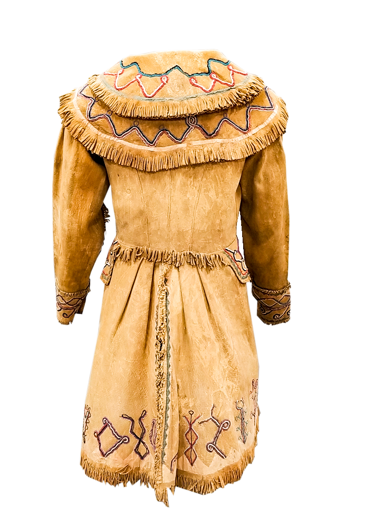 This Cherokee deer hide jacket was made about 1825 and was worn during removal of the tribe to Oklahoma in 1838.