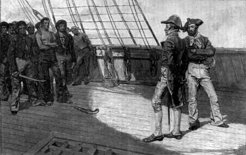 British officers inspect American sailors taken against their will, Courtesy of the Library of Congress.