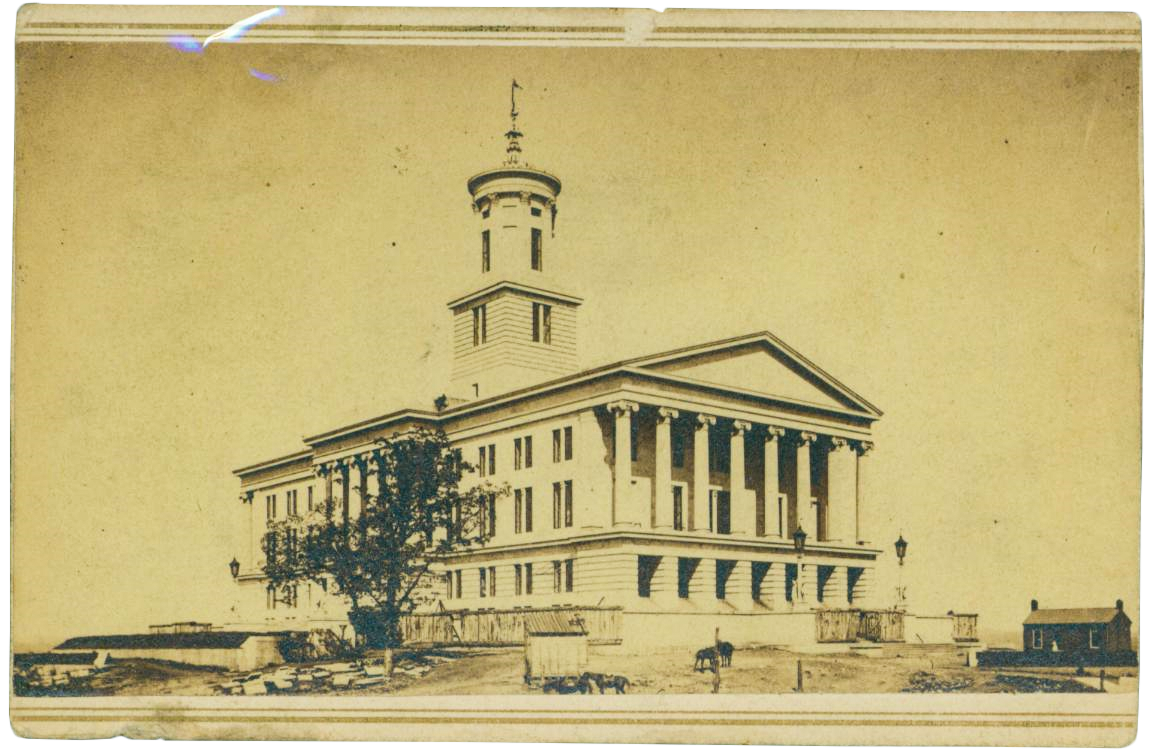 Photograph of the Tennessee State Capitol during the Civil War. Tennessee State Museum Collection.
