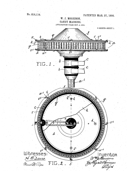 This is the patent for the improvements to the original machine. Patent from 1904. Courtesy of the United States Patent and Trademark Office.