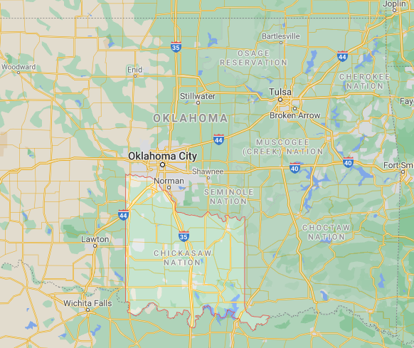 Present Day Chickasaw Nation (Google Maps).