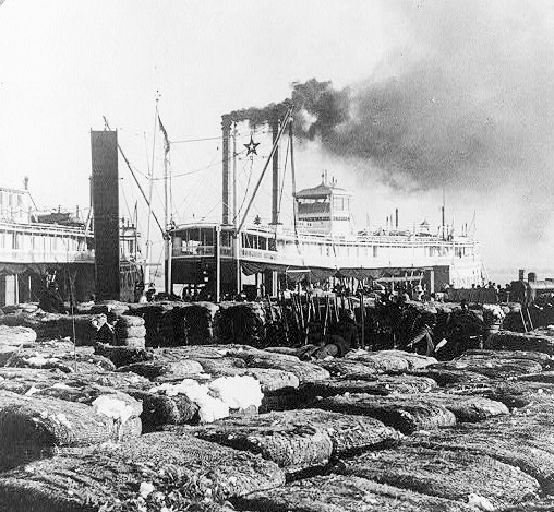 Bales of cotton on New Orleans dock, Library of Congress