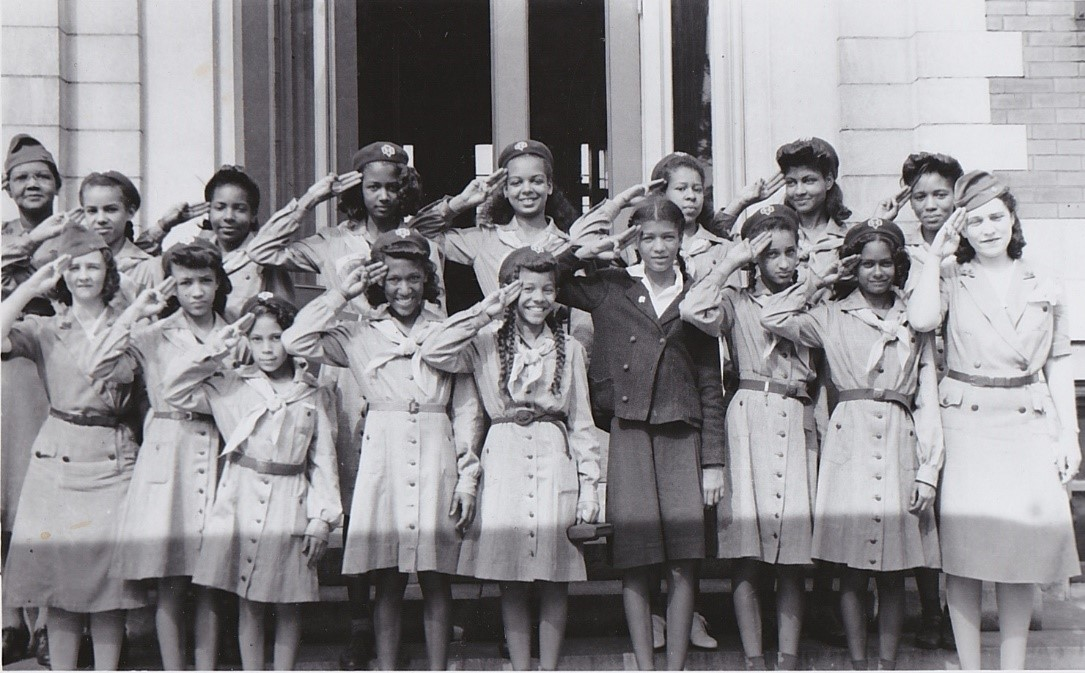 Josephine Groves Holloway and the first Black Girl Scout troop to register after the Nashville council agreed to accept Black troops in 1942.  Josephine is the first person on the top left. (Courtesy of the Girl Scouts of Middle Tennessee)