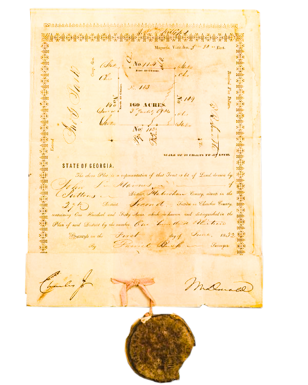 State of Georgia Deed. This paper tells who owns a piece of land. When Cherokees were forced from their homes, the government gave white men the land instead. This deed was probably a piece of land that once belonged to the Cherokee.