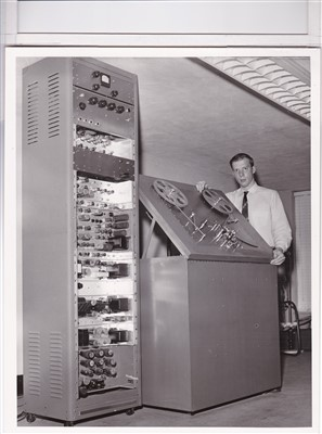 Beverley R. Gooch and his video magnetic tape recorder, 1955. Courtesy Beverley R. Gooch