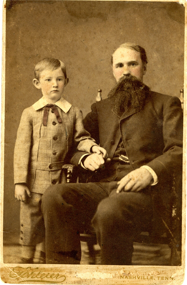 Photograph taken in Nashville of Hugh Gwyn and his son, Childress Gwyn, after the war (2018.33.2)