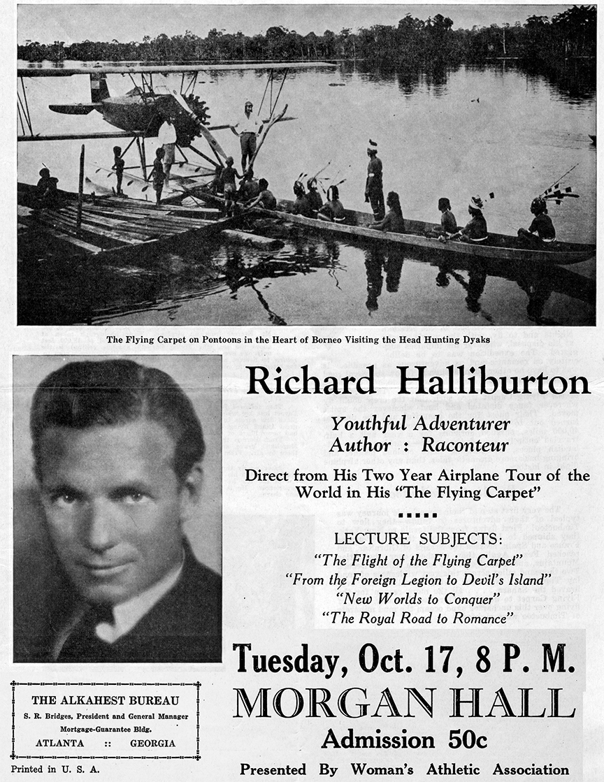 Flyer promoting a Richard Halliburton lecture. Courtesy of the Rhodes College Archives and Special Collections, Memphis, Tennessee.