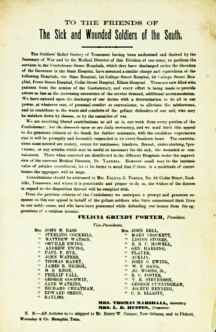 Handbill from the Soldiers Relief Society of Tennessee.