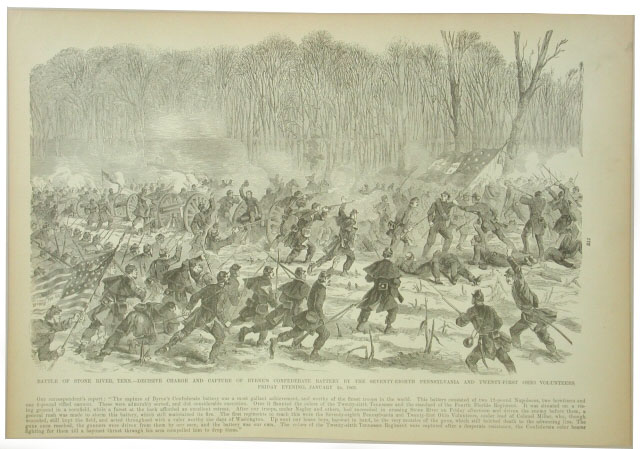 Print, Harper's Weekly, 1863. Showing the battle flag of the 26th Tennessee Infantry, C.S.A. at the Battle of Stones River. 2005.202