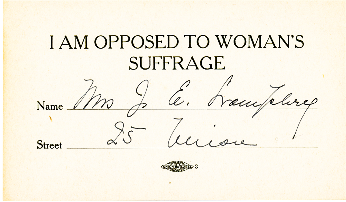 I Am Opposed to Woman Suffrage Pledge Card