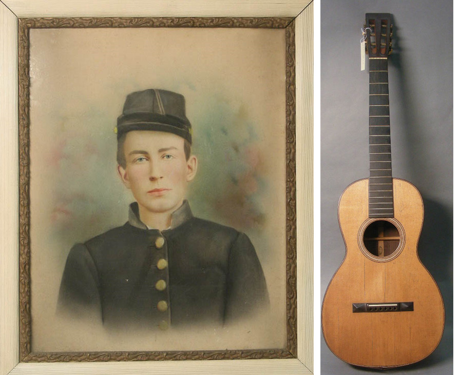 Johnnie Campbell 2017.33.2 and C. F. Martin Parlor Guitar 2017.33.1.1
