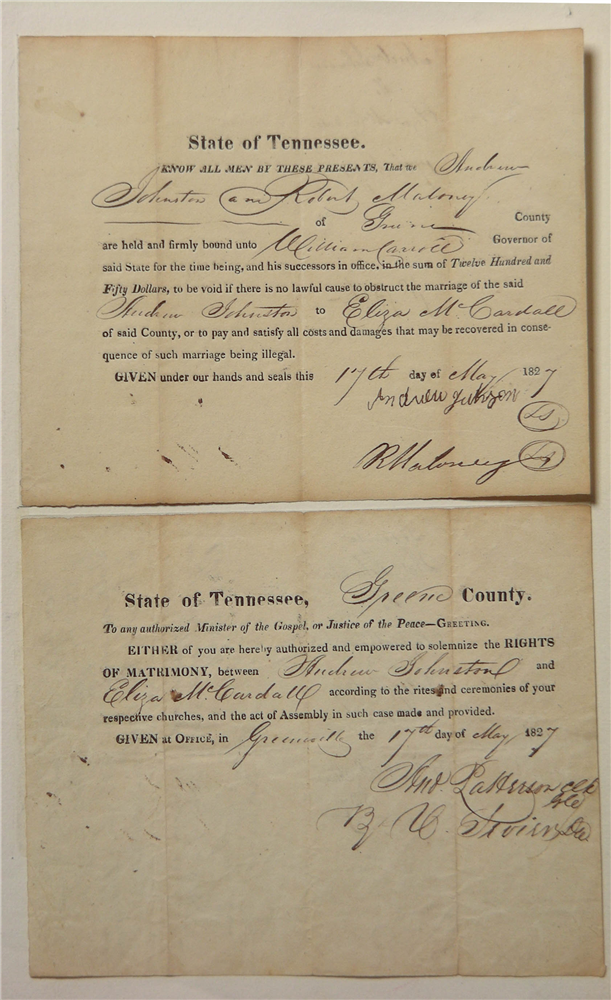 Marriage Bond of Eliza McCardle and Andrew Johnson (2016.215)