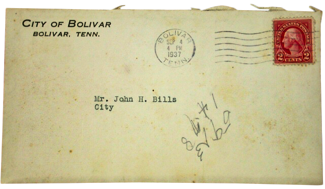 Envelope with stamp, Tennessee State Museum collection.