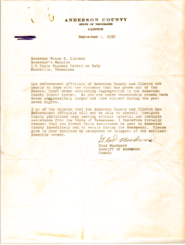 Letter from the Sherriff in Clinton, TN to Governor of TN asking for help from National Guard. TSM Collection