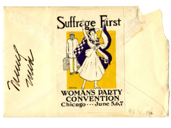 Letter to Mary Shaut White sealed with a Woman's Party Convention Stamp. The Woman's Party took place in 1916 and was a different suffrage organization from the National American Woman Suffrage Association.