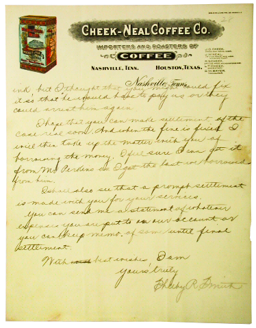 Letter from Joel Cheek on Company Stationary (Tennessee State Museum Collection)