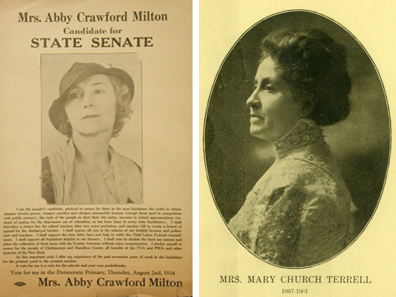 Abby Crawford Milton Democratic primary advertisement from 1934 and a portrait of Mary Church Terrell