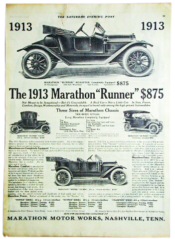 1913 Saturday Evening Post ad for Marathon Motor Works from  the collection of the Tennessee State Museum.