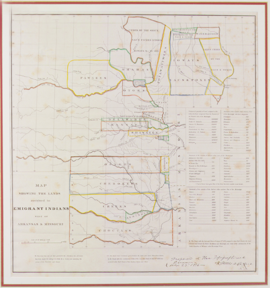 """""""Map Showing the Lands Assigned to Emigrant Indians West of Arkansas & Missouri,"""" 1836 (Tennessee State Museum Collection, 1997.147)"""