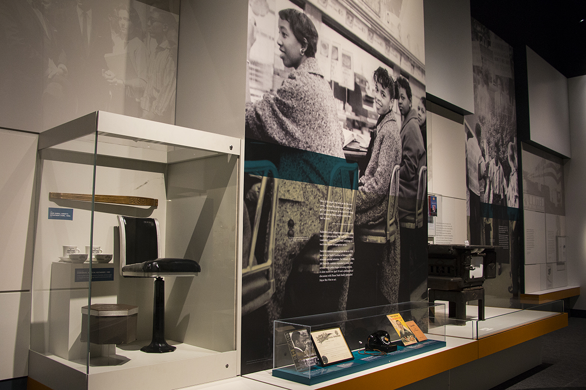 Civil Rights Movement artifacts in the Tennessee Transforms exhibit.