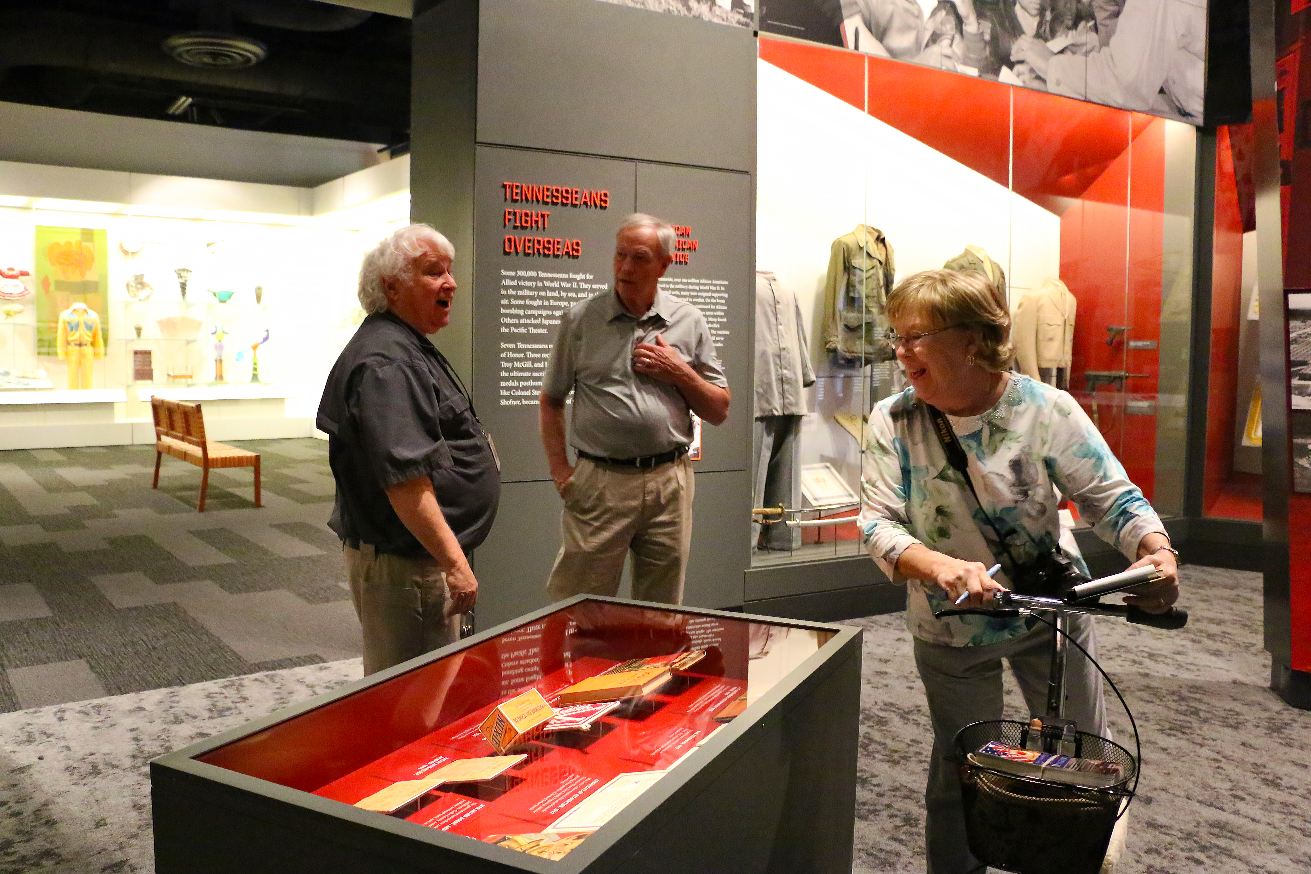 Nick Fielder gives a tour Ed Wescott's daughter, Emily, and his son-in-law, Don Hunnicut.