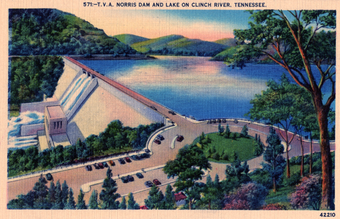 Postcard of Norris Dam and Lake Norris, Tennessee State Museum Collection.