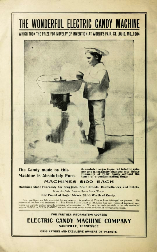An advertisement for a Fairy Floss Machine by The Electric Candy Machine Company in the 1907 Tennessee State Fair Program. Courtesy of the Biodiversity Heritage Library.