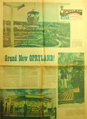 This newspaper article from 1972 features articles and planning information for the   new theme park Opryland USA. The Opryland Hotel was opened to support the park.