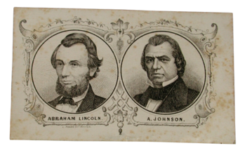 Political card for the 1864 election showing Abraham Lincoln and Andrew Johnson. Tennessee State Museum Collection.