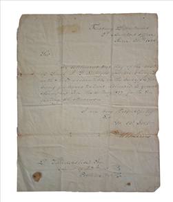 The Chickasaw Nation was coerced into signing a removal treaty in the 1830s. The U.S. Treasury Department submitted this invoice of $14,700 for 100,000 rations delivered to the Chickasaw in Memphis for their forced removal west. Tennessee State Museum Collection.