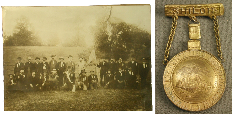 Veterans of the 24th Tennessee Infantry, C.S.A. on the field at Shiloh, 1880s and Shiloh Battlefield Association Medal, 1880s, 90.5. 2007.152.3
