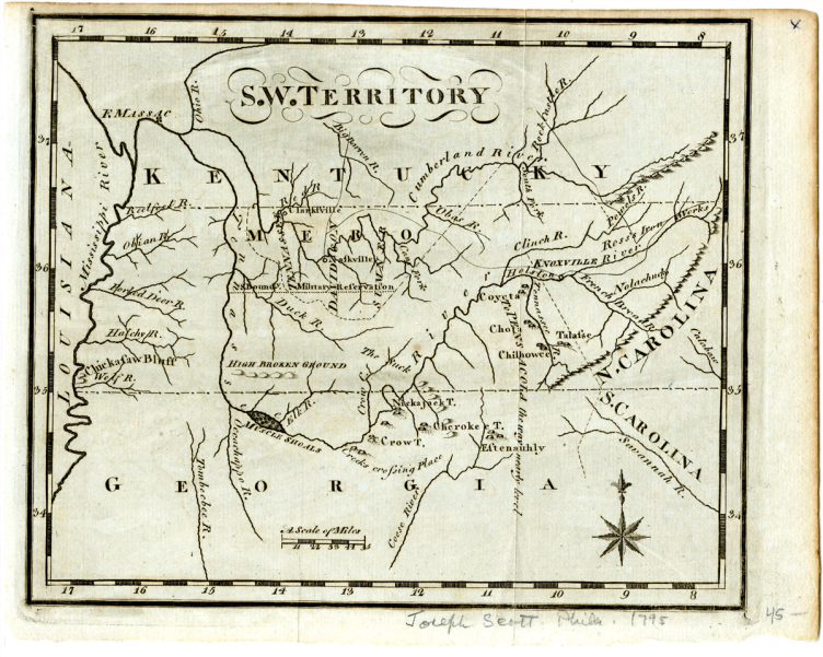 1795Map of Southwest Territory by Joseph Scott
