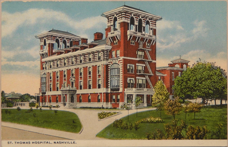 Postcards of St. Thomas Hospital from the early and mid-1900s.