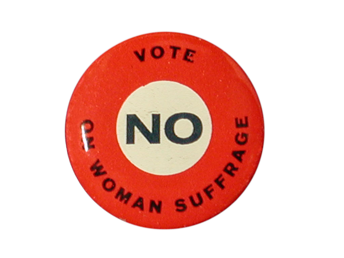 Vote No on Woman Suffrage Button