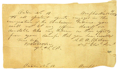 In this document, the superintendent of Chickasaw Removal, instructed agents to secure all Southeastern Indians and their belongings in removal camps. These camps often provided poor living conditions and contributed to the misery experienced by the people forced to move west. Tennessee State Museum Collection.