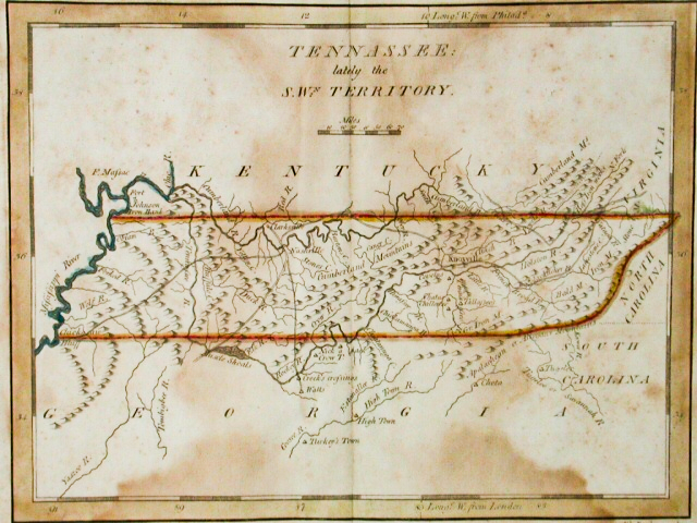 A map of Tennessee around 1796, the year Tennessee became a state. Tennessee State Museum Collection.