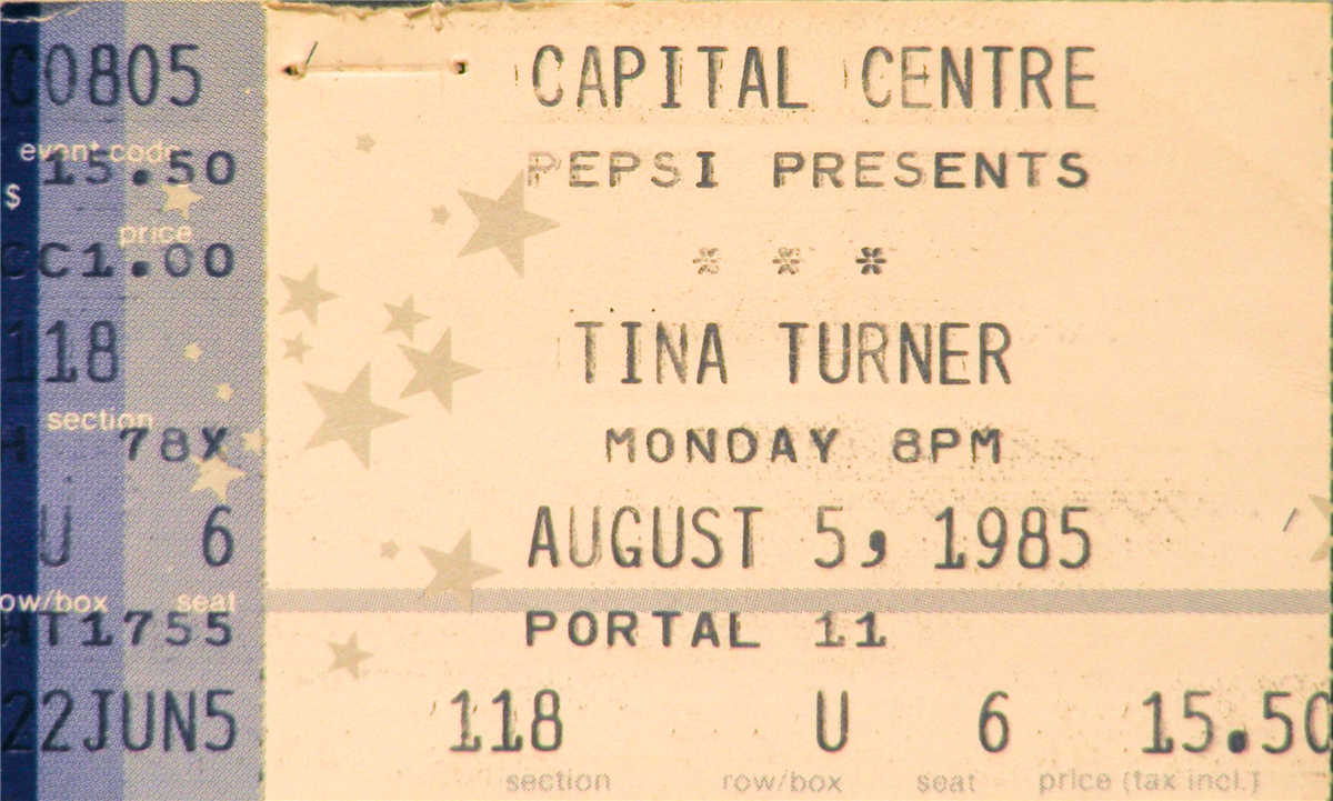 Tina Turner Concert Ticket. Tennessee State Museum Collection.