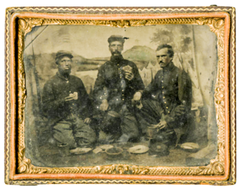 Tintype of soldiers posed eating hardtack and coffee rations,Tennessee State Library and Archives.