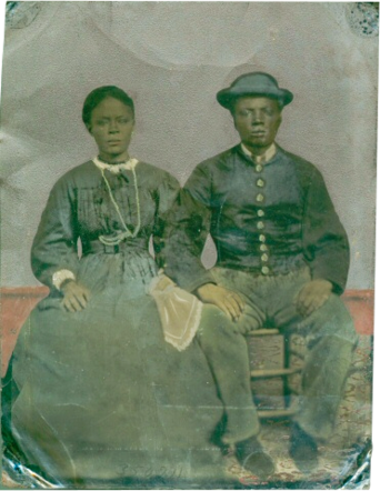 Tintype of Hannah and Adam Watkins. Adam served during the Civil War in the 16th USCT Regiment. Adam escaped enslavement and enlisted in the Union Army. Tennessee State Museum Collection.
