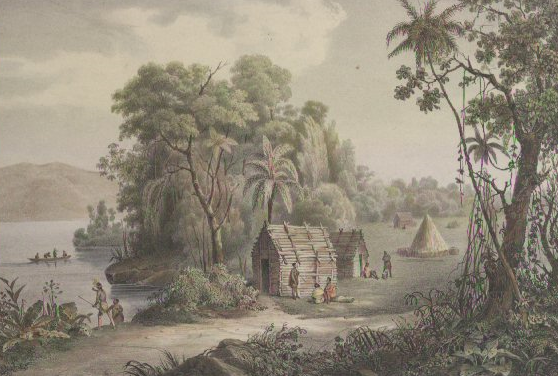 Toqua, Print by C. Motte (example of a Cherokee town), Tennessee State Museum Collection.
