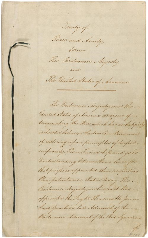 Treaty of Ghent, 1814, Courtesy of National Archives and Records Administration.