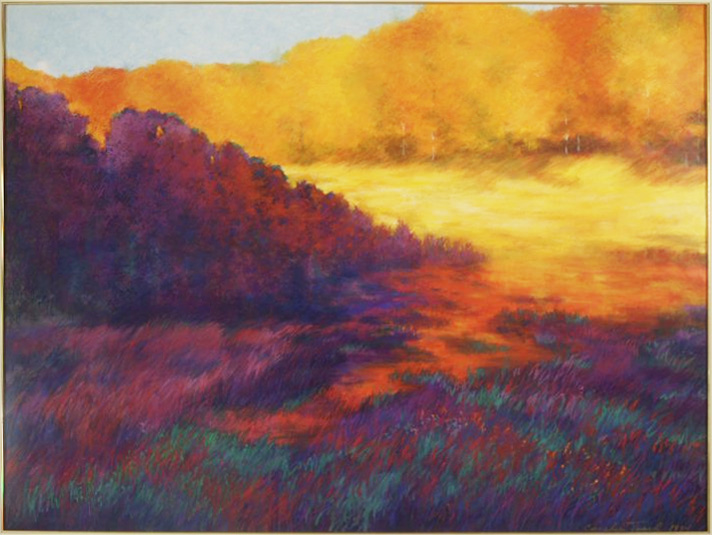"""Autumn Brilliance"" by Coralie Tweed, golden acrylics and pastels on paper, 1994"