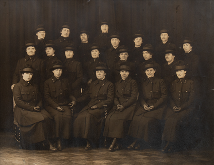"""Photograph of Nurses in Vanderbilt Hospital """"S""""-Catherine Sinnott is in the first row, third from the left."""