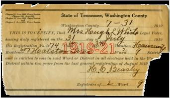 Mary Shaut White's Voter Registration Certificate.